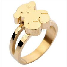 Cute Bear Silver/Gold Stainless Steel Ring Wedding Band Women's Jewery Size 6-9