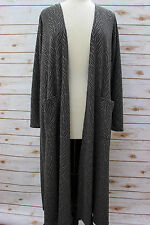 S - Small LuLaRoe Sarah Dark Gray Brocade w Black Liner Rare Duster Cardigan NWT