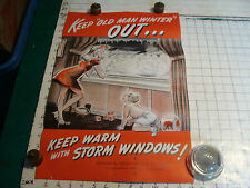 vintage Original Poster: KEEP OLD MAN WINTER OUT, STORM WINDOWS POSTER