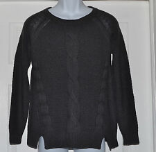 Style & Co. Ribbed Trim Sweater Boat Neck Sz M Charcoal
