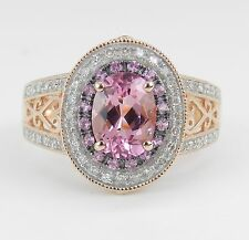 Pink Topaz and Diamond Halo Engagement Ring Filigree Rose Gold Size 7