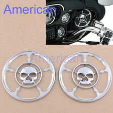 "4-1/2"" Chrome Skull Speaker Trim Grill Cover For Harley Davidson Touring 96-13#"