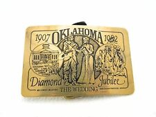 VTG The Leather Shoppe OK Oklahoma Diamond Jubilee 1907 - 1982 Brass Belt Buckle