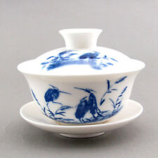 Wonder Egret Blue and White Porcelain Gaiwan Covered Tea Bowl Cup 150ml(L) GW038
