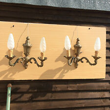 #50 French Wall Lights - Pair of Reproduction Roccoco Style Double Bulb