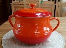 VERY RARE Le Creuset Stoneware LARGE BEAN POT with LID, ORANGE, 4L, BNWT