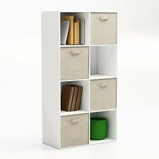Closet Organizer - Fabric Storage Basket Cubes Bins - 4 Beige by Safe & Sealed