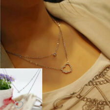 Elegant Crystal Rhinestone Love Heart Pendant Chain Necklace For Valentine Gifts
