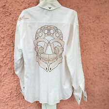 Fender by Rock & Roll Legend Men's XL 100% Cotton White Embroidered