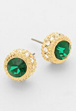 Gold Clear and Green Rope Textured Bezel Set Stud Earrings