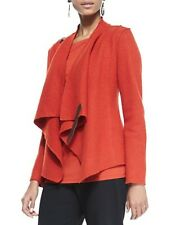 LARGE EILEEN FISHER MADRN BOILED WOOL WITH LEATHER DRAPE FRONT JACKET NEW