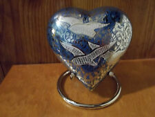 "4"" Going Home White Doves on Nickel & Blue Brass Heart Urn~holds up to 12 lbs."