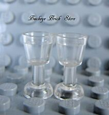 NEW Lego 2- Trans Clear GLOBLETS Drinking Glasses MINIFIG Kitchen Food Cups