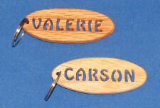 Personalized Hand Cut Oval Key Chain - Stencil