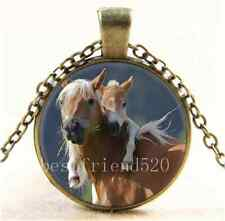 Vintage Mother and Baby Horse Cabochon Glass Bronze Pendant Necklace