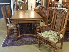 Antique Oak Large Refractory/ Draw Leaf Table & 8 Tall Chairs 1920s 10.5 Ft LONG
