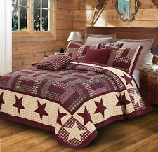BURGUNDY RED Star Quilt Set KING SIZE Primitive Country Rustic Shabby Chic