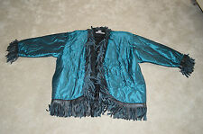 Saint Laurent Rive Gauche Vintage Teal Green Quilted Tassel Womens Jacket Coat