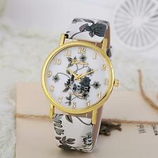 Geneva Fashion Women Leather Watches Quartz Stainless Steel Bracelet Wrist Watch