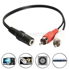 Durable 3.5mm Female To 2 RCA Male Aux Auxiliary Stereo Audio Adapter Cable Hot
