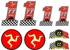 ISLE of MAN TT Races MANX Moto GP Racing 80mm Bike-Helmet Stickers-Decals x 8
