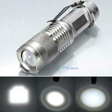 7W 1200lm CREE Q5 LED Mini Zoom Flashlight 14500/AA Torch Pocket Lamp Silver TL