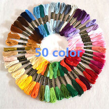 8m 50Pcs Cotton Embroidery Thread Cross Stitch Sewing Floss Skein Multicolor