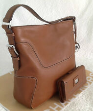 NWT MICHAEL KORS LG HOBO HANDBAG & WALLET BROOKVILLE RICH LEATHERLUGGAGE BROWN