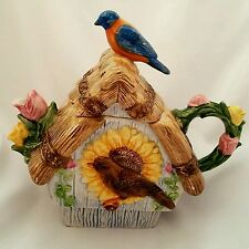 Ceramic Decorative Teapot Birdhouse Robin Sunflower Tulips Vintage
