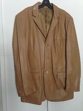 NICOLE FARHI MENS THREE-BUTTON FRONT LEATHER JACKET SIZE XL