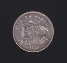 1916 Sterling Silver Shilling Coin King George Australia R-332