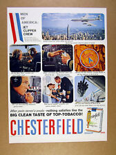 1958 Pan Am 707 Jet Pilots photos Chesterfield Cigarettes vintage print Ad