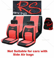 15 Piece Red Black RS Racing Car Seat Cover Mat Set Wheel Glove Cover Pads Pack