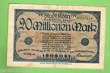 1923  GERMANY  20  MILLION  MARK  BANKNOTE  No. 033110