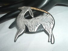 VINTAGE LARGE DANISH MODERN STERLING SILVER AND BLACK BAKELITE ANTELOPE PIN