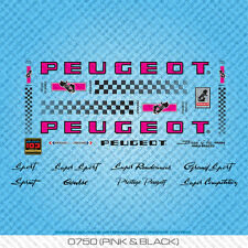 Peugeot PX/PY10 bicyclette decals-transfers-autocollants-rose & noir-set 750