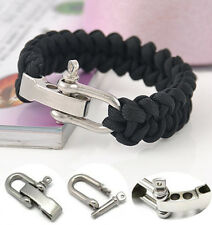 Solid Black Rope ParaCord Outdoor Survival Camping Bracelet Steel Shackle Buckle