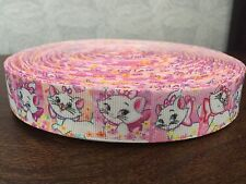 "1m Pink Marie Cat The Aristocats Cartoon Printed Grosgrain Ribbon, 7/8"" 22mm"