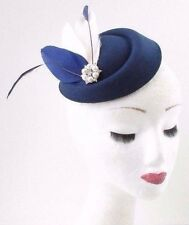 Cream Navy Blue Silver Feather Pillbox Hat Fascinator Races Vintage Hair 40s 649