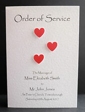 10 Handmade  Order of Service Front Covers -  Many Colours - Free P&P