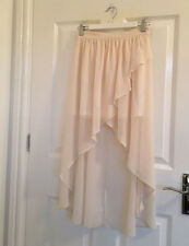Miss Selfridge dipped hem cream floaty skirt Size 6 petites. BNWOT.
