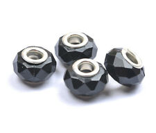N2315 BlacK Buckle Faceted Acrylic Bead For European Beaded Charms Bracelet 14MM