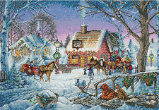 Cross Stitch Kit ~ Gold Collection Sweet Memories Winter Town & Sleighs #8816