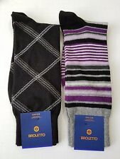 Broletto Mercerized Dress/Casual Socks - O/S - Black Cross - Block Multi Stripe