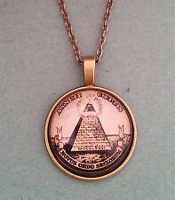 Antique Bronze Illuminati Masonic Pyramid Glass Dome Necklace Pendant
