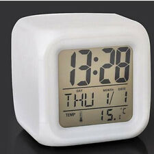 Fashion Led 7 Color Glowing Change Digital Glowing Thermometer Clock