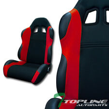 TS SPORT BLK/RED CLOTH FABRIC CAR RECLINABLE RACING BUCKET SEATS+SLIDERS L+R T01