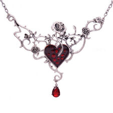 RED HEART, ROSES & THORNS NECKLACE PENDANT GOTHIC STEAM PUNK ALCHEMY ON CHAIN