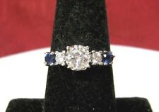 UNIQUE 14K WHITE GOLD .75 CTW ROUND DIAMOND & SAPPHIRE ENGAGEMENT RING SIZE 7.75