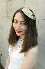 Cream Gold & Ivory Feather Fascinator Headpiece Vintage 1940s Races Headband U52